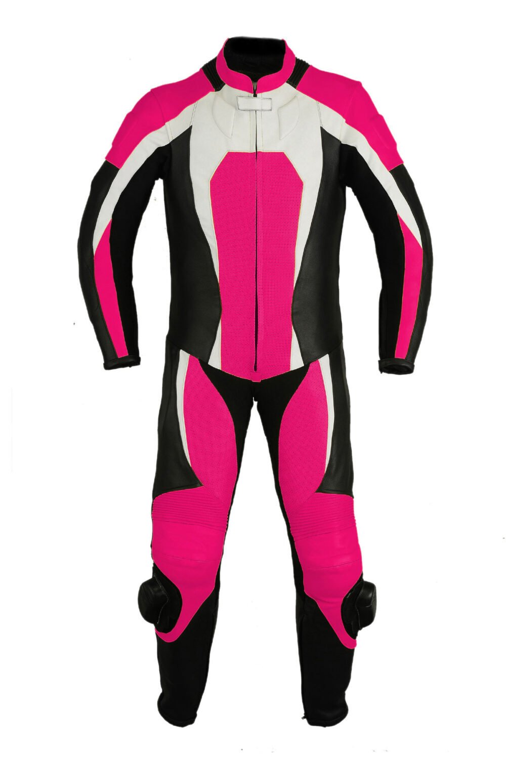 Women Pink Leather Racing Suit